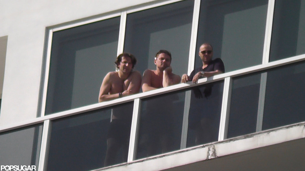 Bradley Cooper and Leonardo DiCaprio checked out the view from their balcony.  Source: Coleman-Raynor