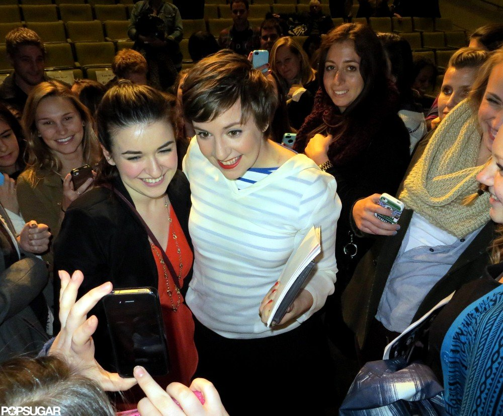 Lena posed with fans after the screening.