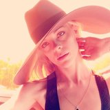 Jaime King wore an oversize Saint Laurent hat. Source: Twitter user Jaime_King