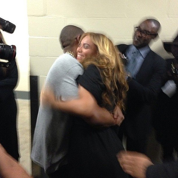 Beyoncé got a hug from her husband, Jay-Z, after wrapping up her Super Bowl halftime performance. Source: Instagram user joannasimkin