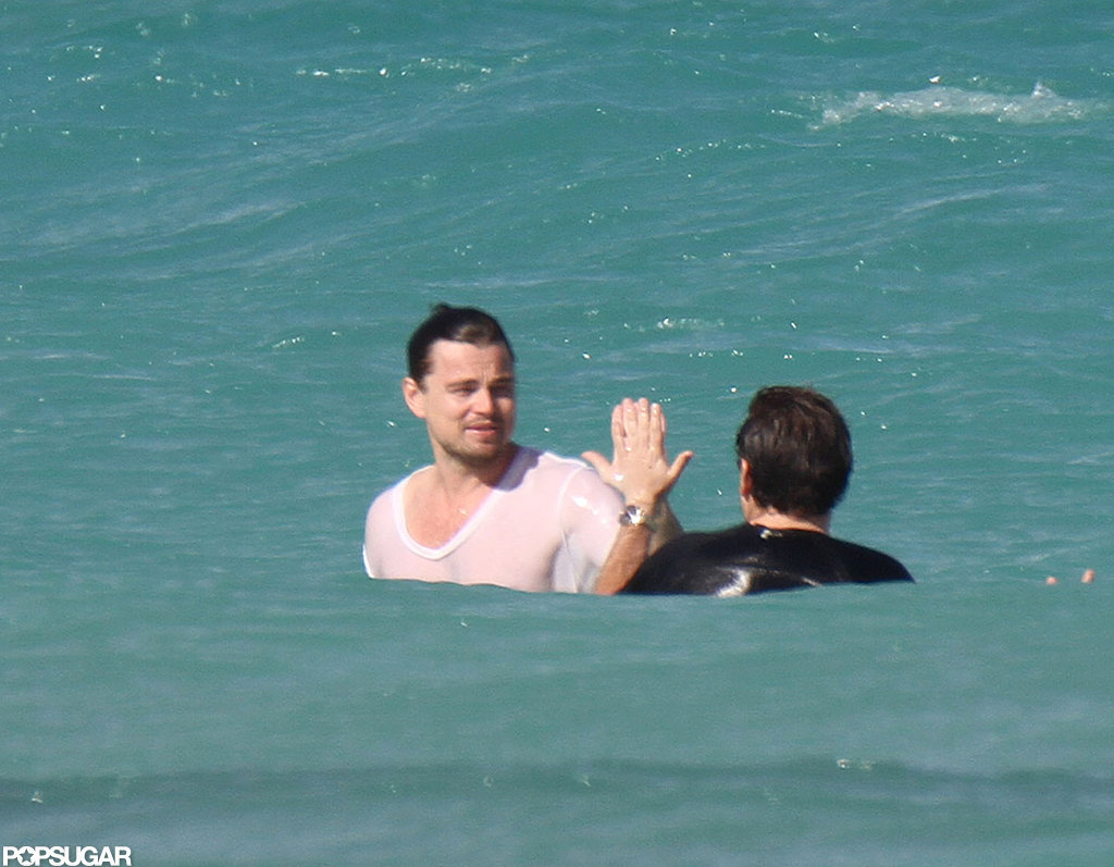 Leo and Jonah Hill swam together in Miami.