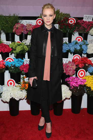 Carey Mulligan's all-black canvas — leather-trim coat, cropped trousers, and suede pumps — made her flowing peach blouse the center of attention at the Prabal Gurung For Target bash.