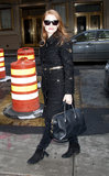 Jessica Chastain donned a plush tweed coat with a Givenchy bag and fringe ankle boots in NYC.