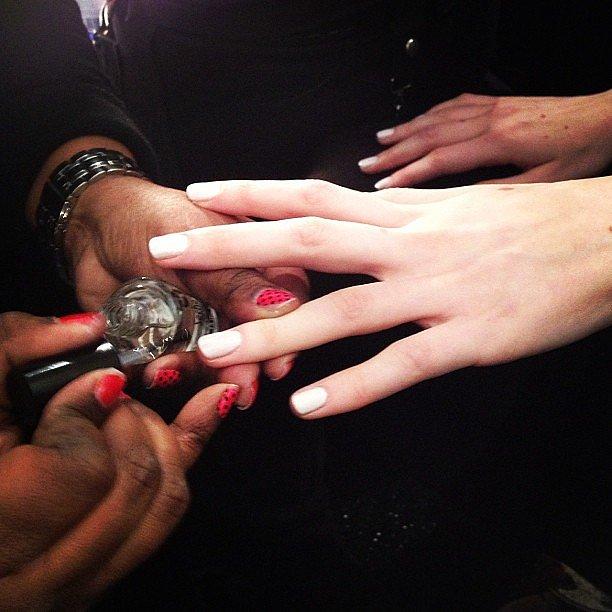 China Glaze chose a Winter-white nail colour for the Tadashi Shoji show.
