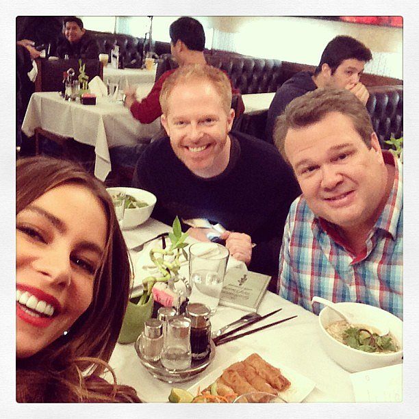 Sofia Vergara, Jesse Tyler Ferguson, and Eric Stonestreet filmed a scene for Modern Family. Source: Instagram user sofiavergara