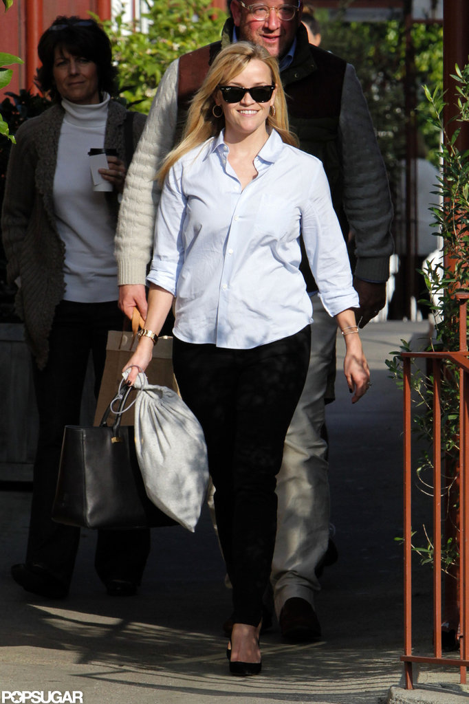Reese Witherspoon smiled as she left a lunch outing in LA.