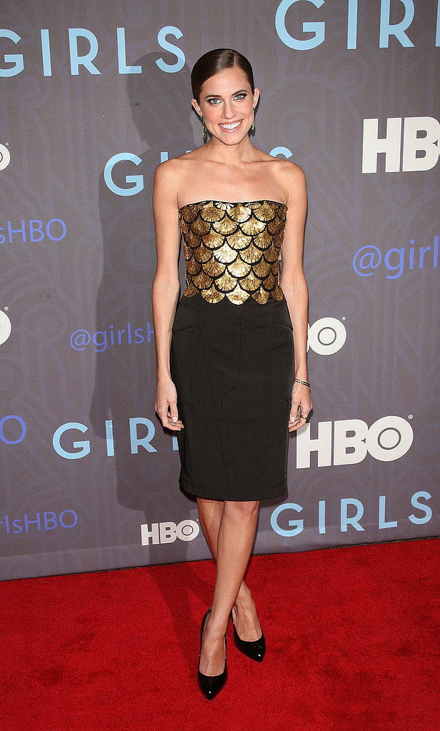 The season-two NYC premiere of Girls brought out the bold and playful side of Allison, as she swapped her signature romantic style for this showstopping Altuzarra confection, complete with a gold-embellished bodice and black patchwork skirt.