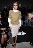 Tory Burch showcased a ladylike look — a camel sweater and pastel lace pencil skirt — during the Kimberly Ovitz show.