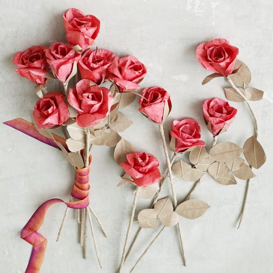 For beautiful roses that will never wilt, go with these handcrafted paper flowers ($36 for 12).