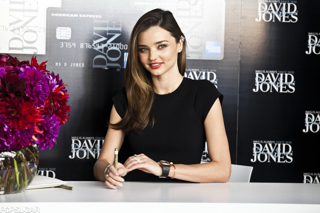 Miranda Kerr wore a simple black dress.