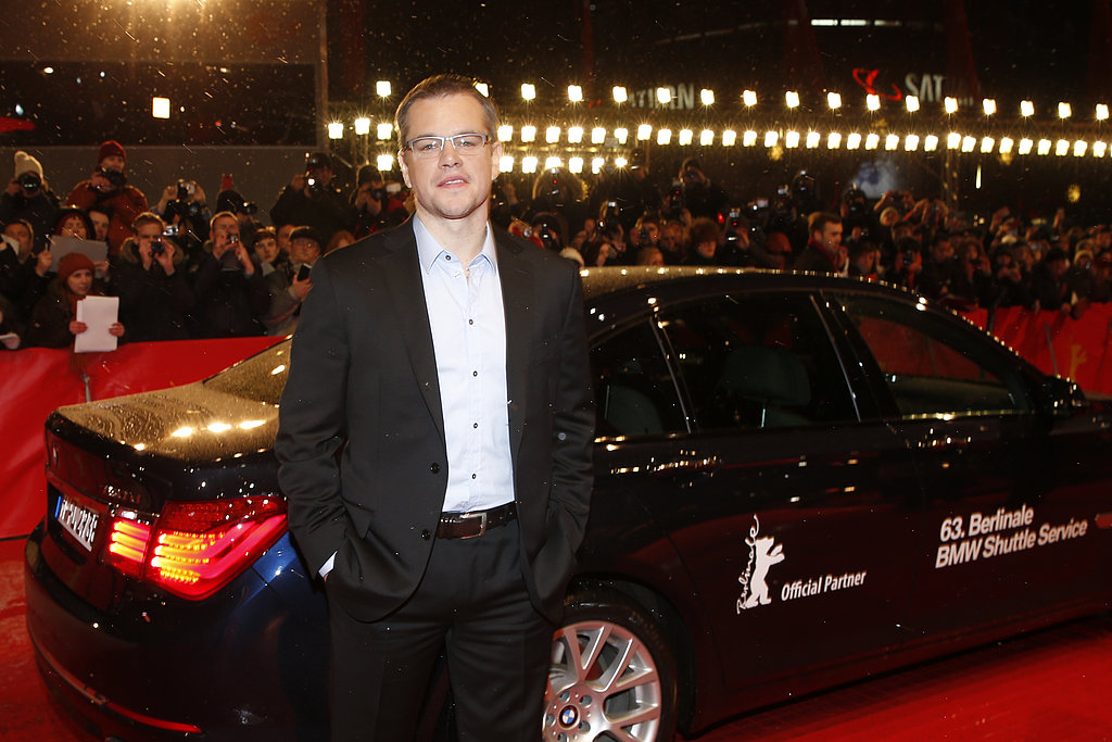 Matt Damon posed next to a BMW at the Promised Land premiere hosted by BMW in snowy Berlin Friday night.