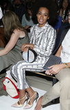 While sitting front row at the Suno show in NYC, Solange worked a classic gray-and-white pinstriped suit, but upon closer inspection, we also spotted little two-toned horses. Her sophisticated clutch doubled as a map, and her polished pumps were reminiscent of a childhood favorite: Neapolitan ice cream.