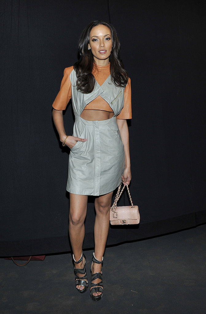 Selita Ebanks wore a daring cutout dress and cutout sandals at the Sally Lapointe show.