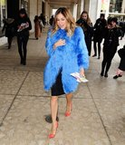 Sarah Jessica Parker channeled her inner Carrie Bradshaw in a brilliant blue Misha Nonoo fur outside the Lincoln Center.