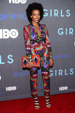 In signature Solange fashion, the brunette singer wowed in a geometric-print Just Cavalli suit, black-and-white Bottega Veneta sandals, and a coordinating colorful clutch at the season two premiere of Girls in NYC.
