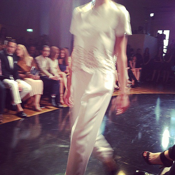 Luxe perforated leather from Lover came down the runway on delish model Rachel Rutt.