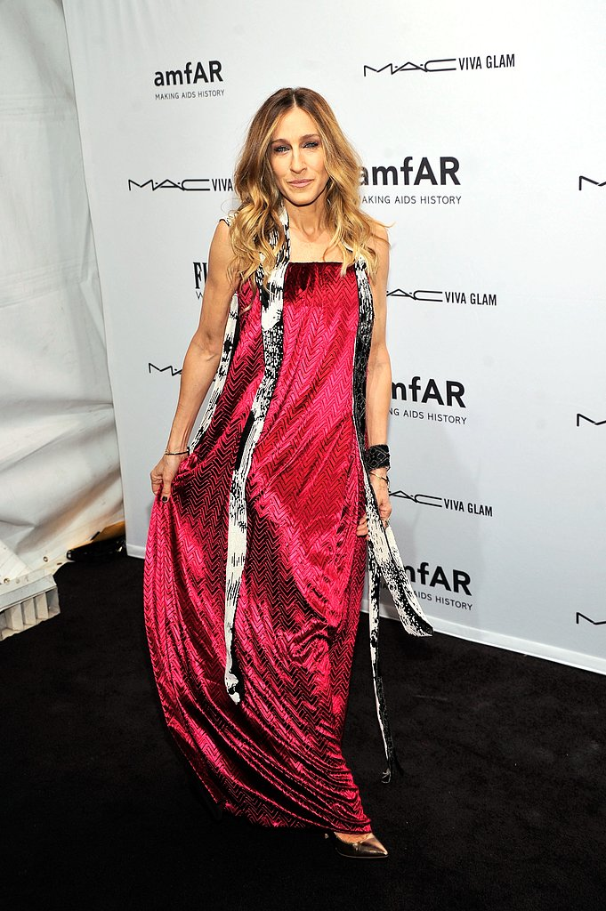 Sarah Jessica Parker kicked off Fashion Week in a raspberry-hued gown at the amfAR Gala in New York on February 7.