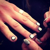 "The ""picture frame"" nails were a little mod at Charlotte Ronson."