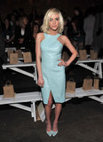 Ashlee Simpson looked extra cool in an icy blue leather dress and matching satin pumps at Christian Siriano.