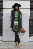 A bold eclectic print, statement heels, and an embellished bag delivered just the right wow factor.