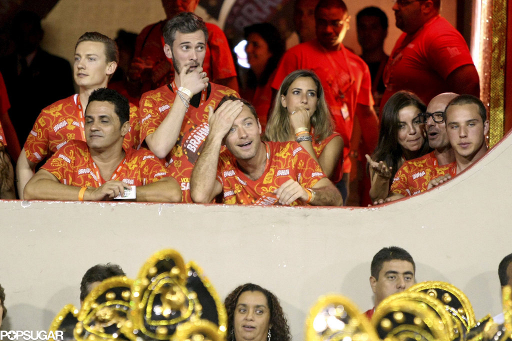 Jude Law was in good spirits as he watched the carnival parade from the Sambadrome in Rio de Janeiro in 2011.