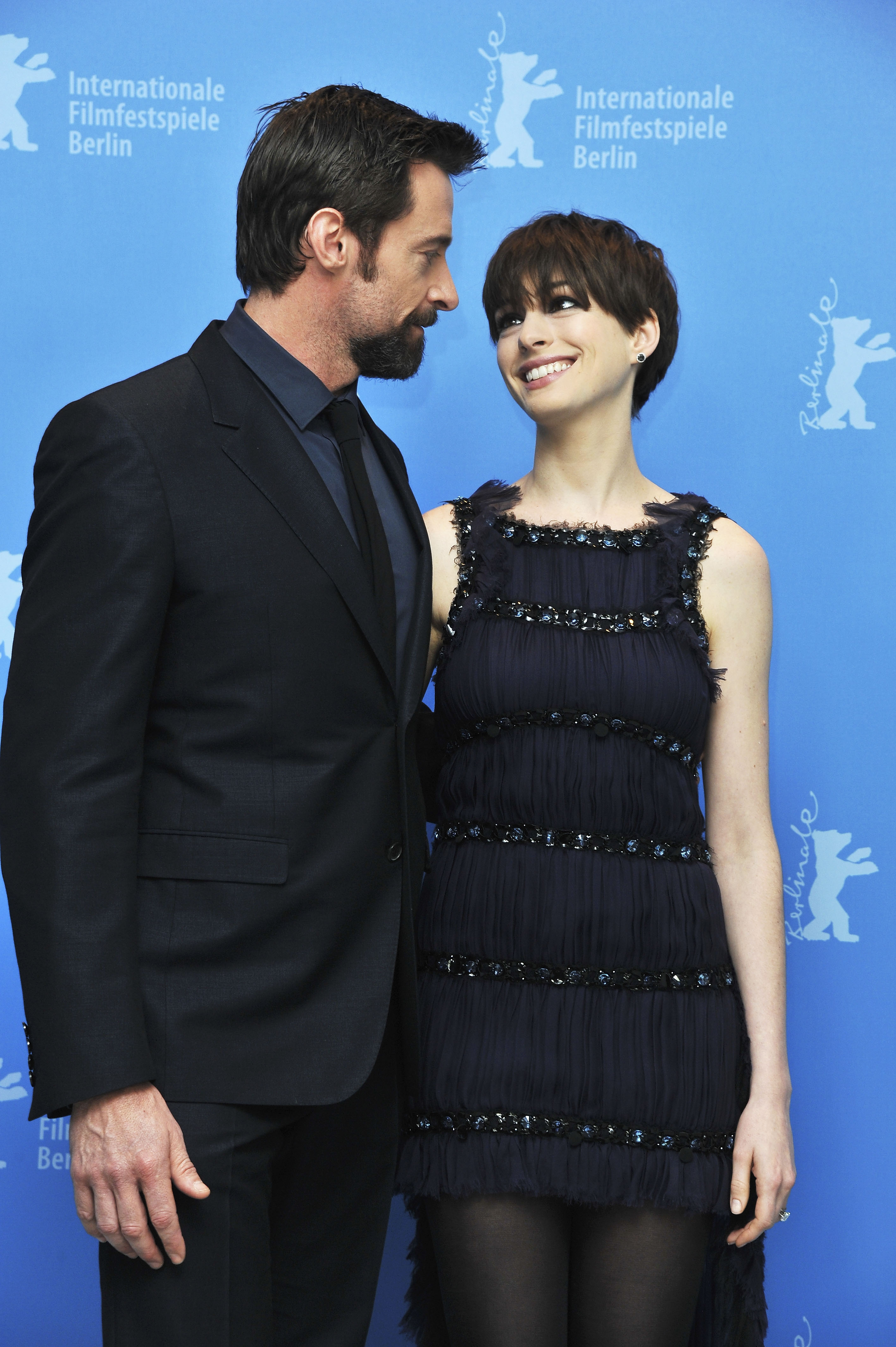 Chanel-clad Anne Hathaway linked up with Hugh Jackman at the Berlin Film Festival.