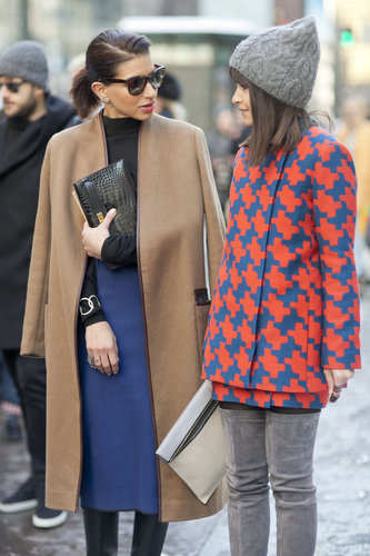 Miroslava Duma turned heads with a bold print, while at left, it was all about the classics.