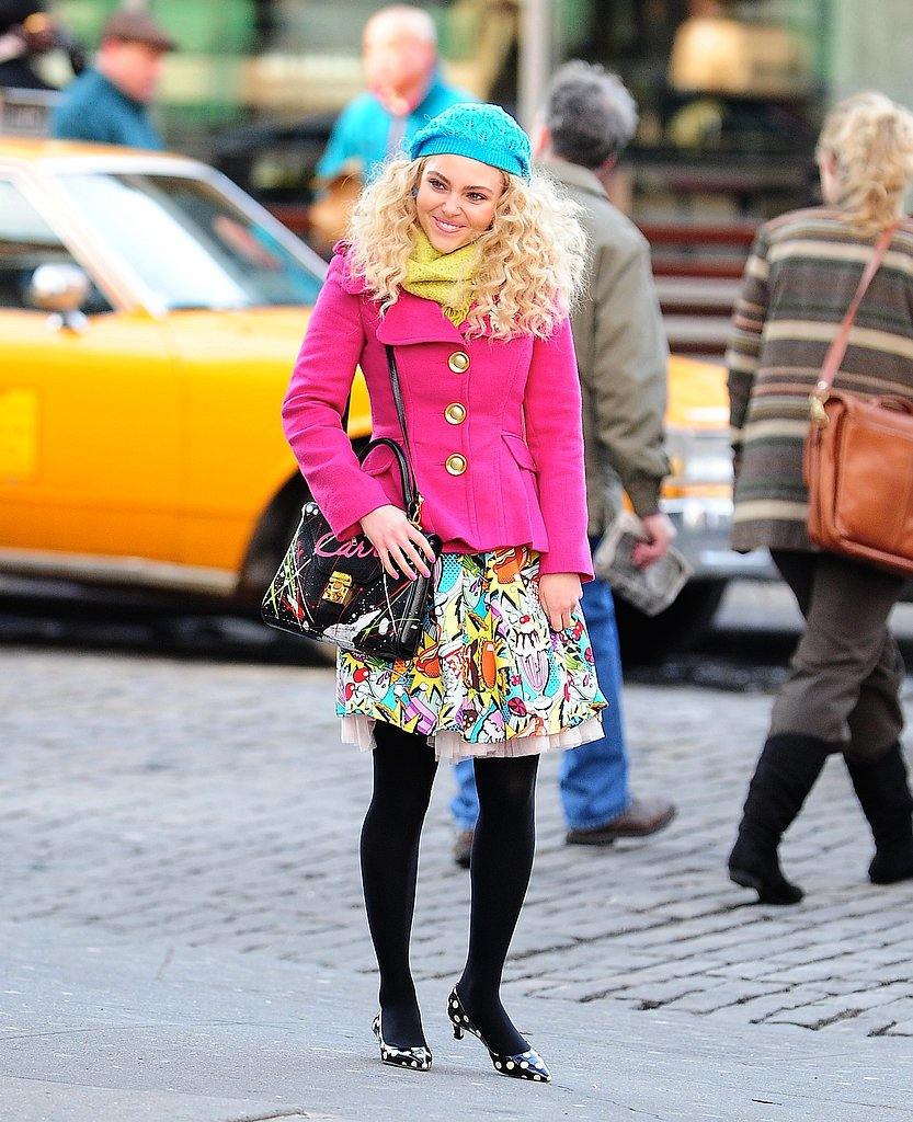 Carrie mixed bold prints and bright colours while cruising around NYC.