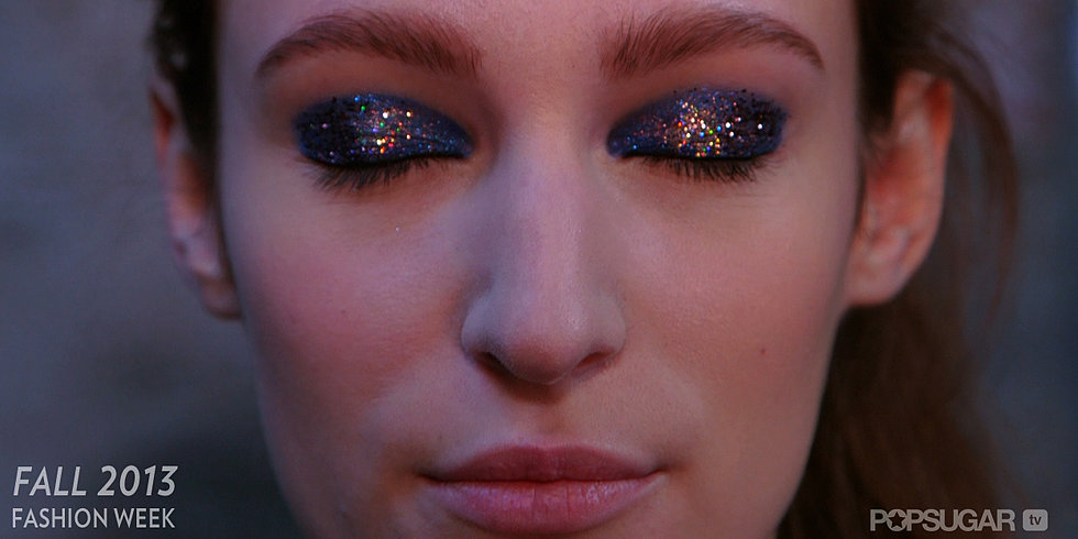 Check out the Glitter Eyes and Sharp Bangs at Thakoon!