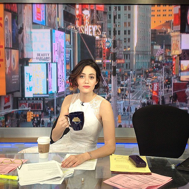 Emmy Rossum practiced for her gig in her next life: host on Good Morning America. Source: Instagram user emmyrossum