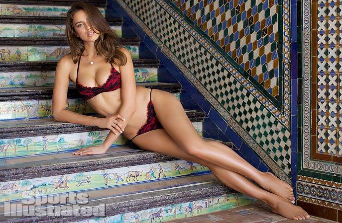 Irina Shayk wore a lacy red and black bikini in Spain.