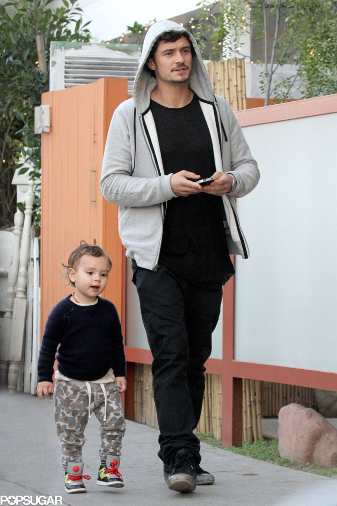 Orlando Bloom walked with his son, Flynn.