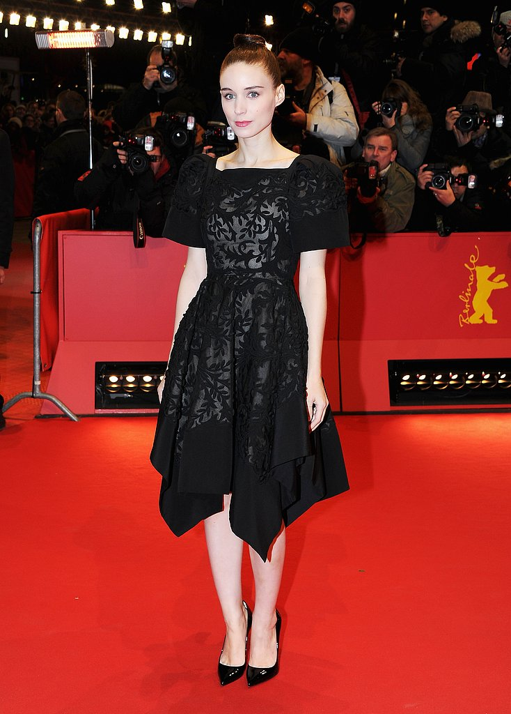 Rooney Mara looked pretty in a black lace Valentino at the Side Effects premiere in Berlin.