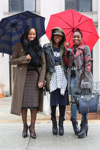 This ultrastylish crew gave us a how-to in the coolest, eclectic layers outside the tents.
