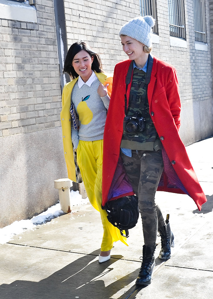 This duo doubled up on high-impact primary colors on their way to the shows.