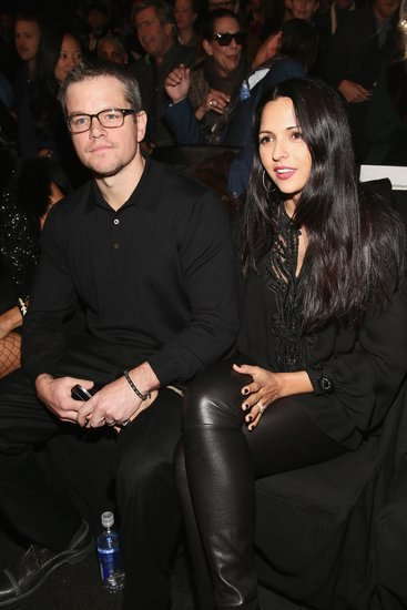 Matt Damon and wife Luciana Barroso looked cozy and chic in all-black ensembles at Naeem Khan.