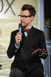 Brad Goreski chatted fashion in a double-breasted blazer and owl-print bow tie during NYFW.