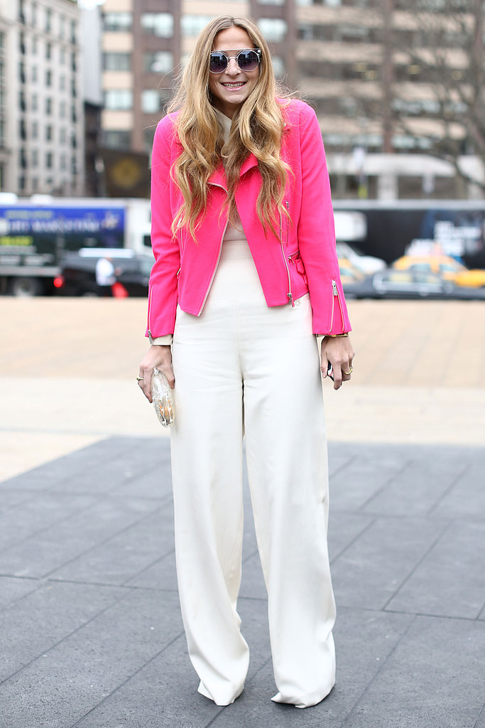What better way to complement a plain white canvas than with a playful bubblegum pink jacket?