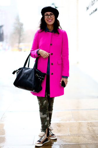 That bright fuchsia coat provided the perfectly girlie counter to high-tops and camo-print bottoms.