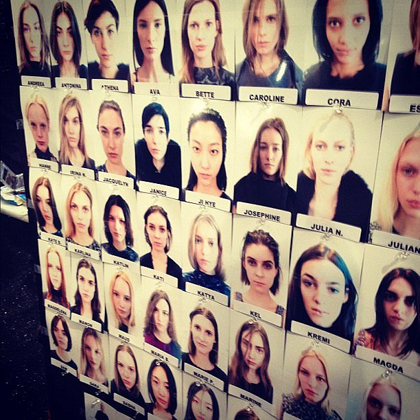 The model lineup backstage at Vera Wang.