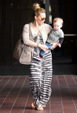 Hilary Duff wore a tie-dye maxi dress on Wednesday when she took her son to Babies First Class in LA.