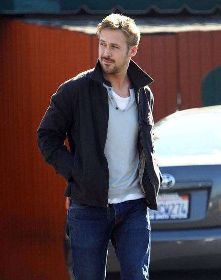Ryan Gosling looked away while walking to the car after lunch on Wednesday in LA.