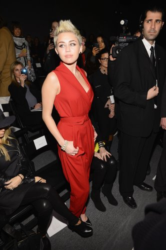 Miley Cyrus took a front-row seat for the Rachel Zoe show in NYC in February.