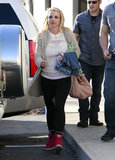 Britney Spears wore pink sneakers.