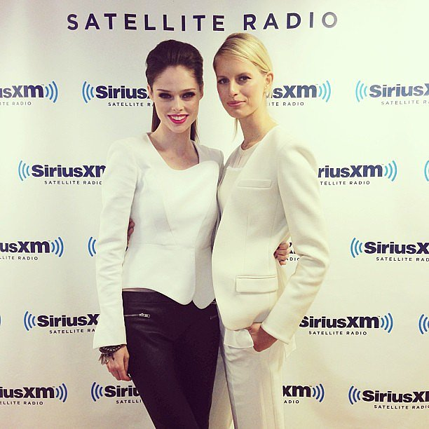 The Face stars Coco Rocha and Karolina Kurkova were dressed in Winter white for a visit to Sirius XM's studios. Source: Twitter user cocorocha
