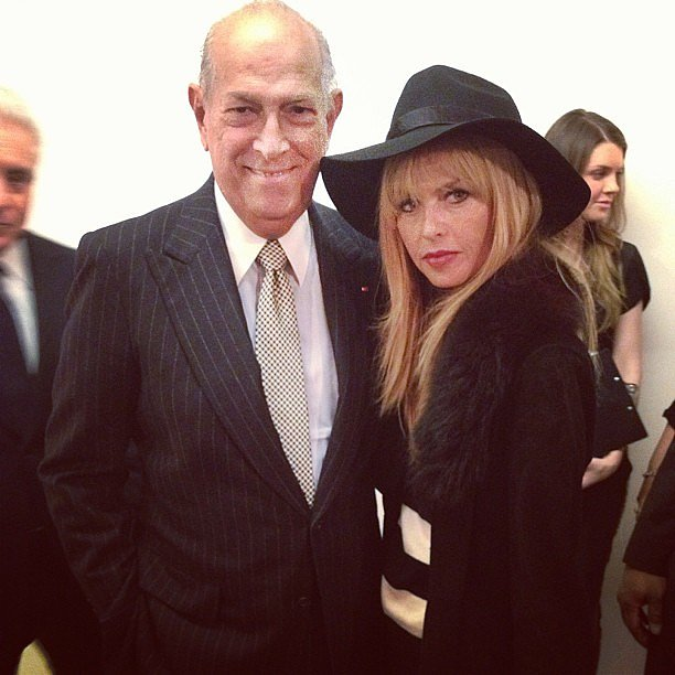 Rachel Zoe posed with Oscar de la Renta after his Fall '13 show. Source: Instagram user rachelzoe