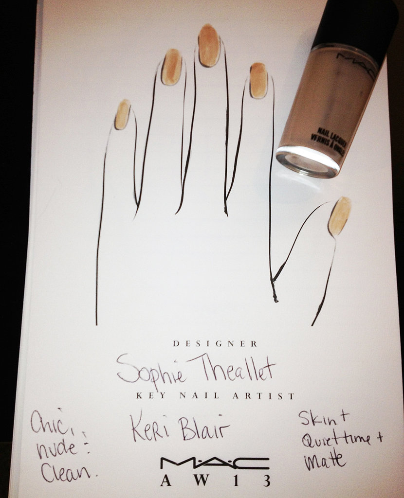 The nail concept for the show was created by manicurist Keri Blair for MAC Cosmetics. She mixed Quiet Time and Skin with a matte top coat to achieve a silky finish. The goal was to replicate a mannequin-type look.