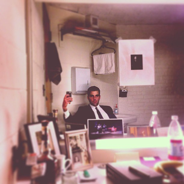 Zachary Quinto snapped a shot of himself in his dressing room. Source: Instagram user ersatzach