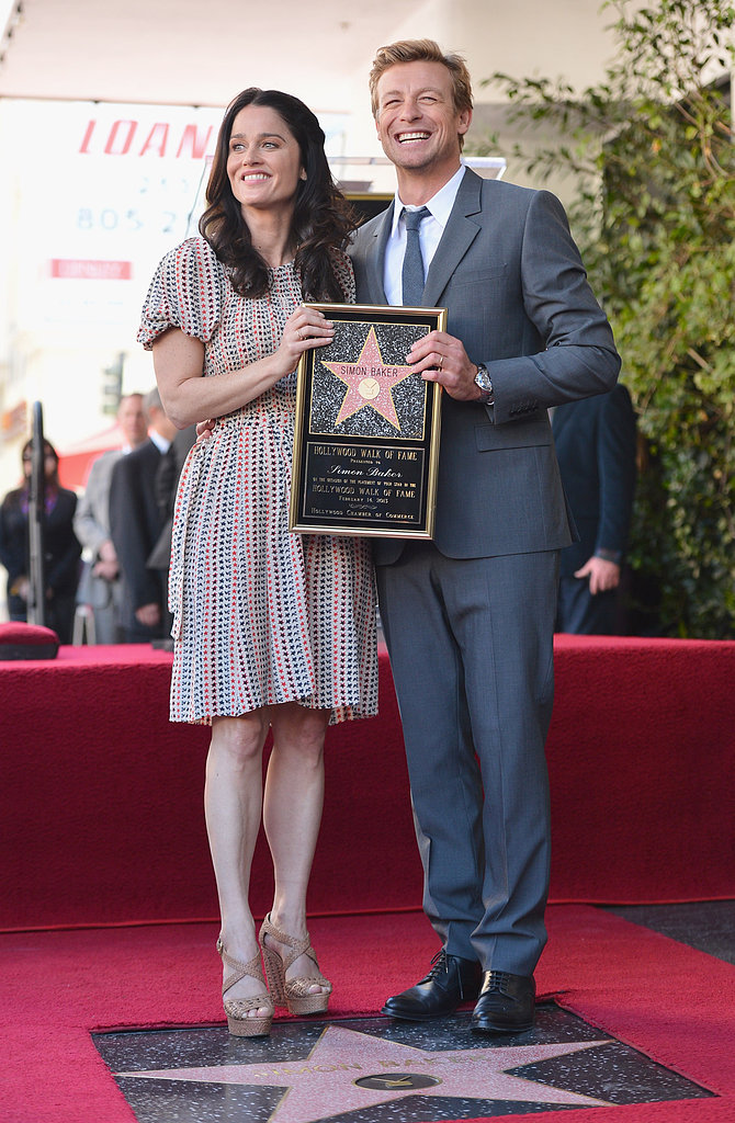 Simon Baker posed with his costar Robin Tunney at the Walk of Fame ceremony on Thursday.