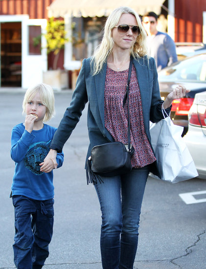 Naomi Watts held hands with Sasha Schreiber in LA's Brentwood neighborhood.